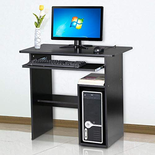 YANGSANJIN Computertablet, klein computerdesk voor thuis, kantoor, studie, met sliding keyboard, zwart