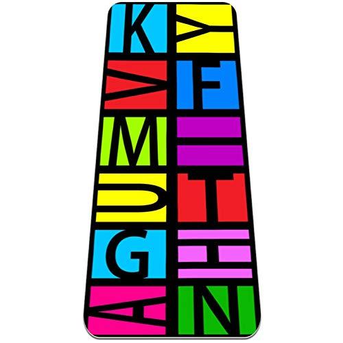 Esterilla de yoga antideslizante de 1/4 pulgadas de grosor con correa de transporte para todo tipo de ejercicio, yoga y pilates (72 pulgadas x 24 pulgadas x 6 mm de grosor) carta colorida