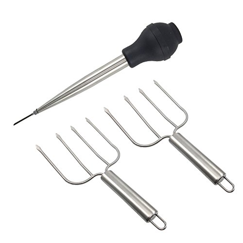 Thanksgiving Turkey Serving Set, Stainless Steel Baster And Turkey Lifter Poultry Forks,3Pcs Set