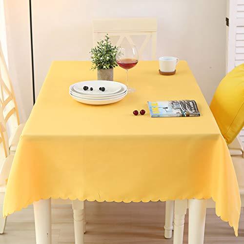 ZZFF Mantel de poliéster Cuadrado, Mantel Impermeable de Color sólido para el hogar Restaurante Hotel Café Fiesta de Bodas Cubierta de Mesa a Prueba de derrames - Amarillo 180x260cm (71x102 Pulgadas)