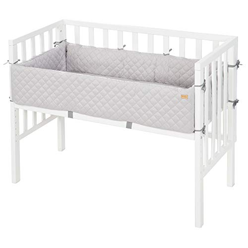 roba-kids 8970WE-8V230 - Cama rodante 2en1, blanca, estilo roba, para todas las alturas de cama de los padres, incluye colchón, nido y barrera, unisex