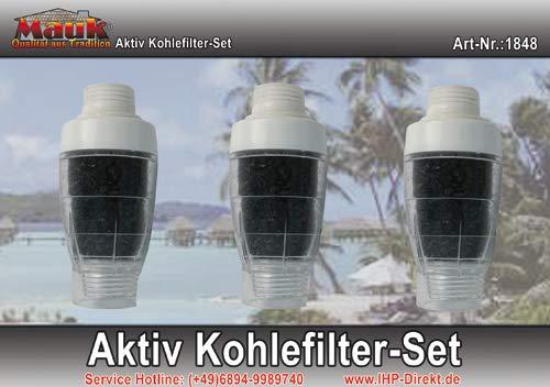 Mauk 3er Set Aktivkohlefilterfür Solardusche Zusatzfilter