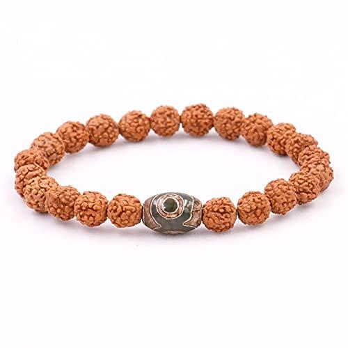 Sjzhdl Natural Rudraksha Seed con Budismo Tibetano Dzi Eye Beads Pulsera para Hombres Mujeres Nueva Mala Healing Lucky Jewelry