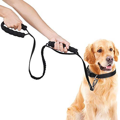 Premium Hundeleine für Große und Mittelgroße Hunde, Bungee Ruckdämpfer Leine Hund mit 2 Henkel Gepolsterten, Starke FührleineHund Reflektierend, Elastisch Nylon Dog Leash 1,2m-1,4m Lange (Schwarz)