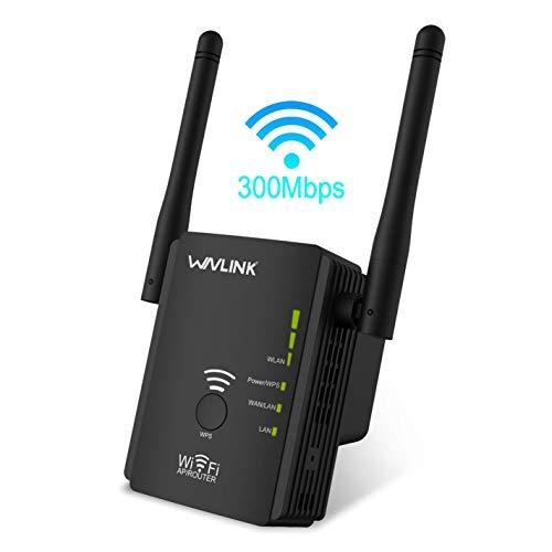 UTOPB WLAN Signal Repeater, Kabelloser 2,4 GHz 300 Mbit/s Wi-Fi Range Extender Booster mit Router/AP/Repeater-Modus, Signalverstärker mit Doppelantenne mit hoher Verstärkung / 2 Ethernet-Ports
