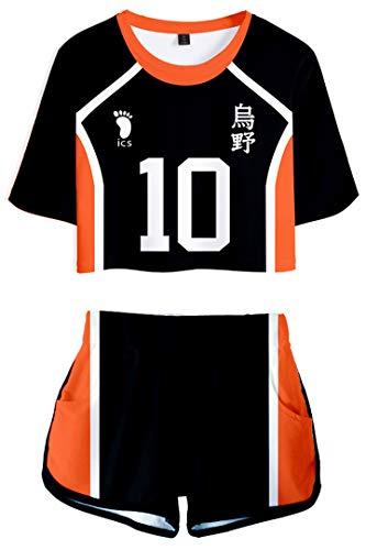 Haikyuu!! to The Top Volleyball Trainingsanzug Mädchen Crop Top & Shorts Karasuno High School Cosplay Uniform - Nr.10 Hinata Shoyo - 130