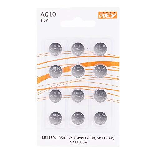 Pack de 12 Pilas AG10 1.5V Tipo Botón de Litio, LR1130, LR54, L1131, 189, GP89A, 389, SR1130W, SR1130SW
