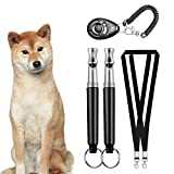 Dog Traning Whistle and Clicker Set, Professional Ultrasonic Sound Whistle to Stop Barking with 2 Straps, for Recall and Repel Silent Training, Black 5 Pack