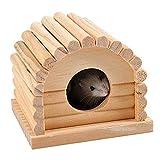 Casa de hámster de madera natural, casa de hámster, hámster, juguete para mascotas pequeñas, villas, madera maciza, cabaña de hámsters, escondite, nido, minianimales, ardilla, cama para dormir