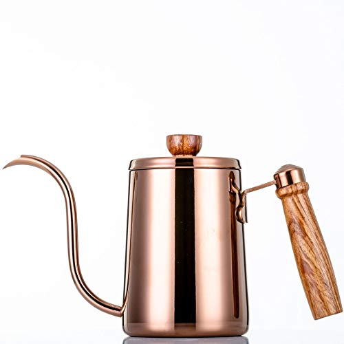 Swan kettle, washed with stainless steel bronze waist coffee pot, gold rose wood handle drip narrow mouth kettle boilers, the best choice of tea and coffee maker 350 l 600 l