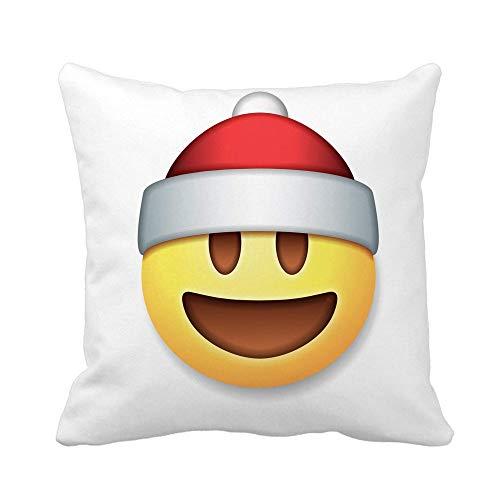 N\A Throw Pillow Cover Yellow Christmas Santa Claus Emoticon Laughing Holiday Smile Symbol Funda de Almohada Funda de Almohada Cuadrada Decorativa para el hogar Funda de cojín