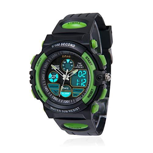 Kinderuhr für Jungen,Digital Analog Armbanduhr 50M wasserdichte Sportuhr im Freien mit Alarm/Stoppuhr/LED-Licht für Jugendliche(Schwarz-Grün)