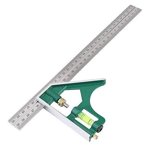 多功能角定規 新生活 応援 測定 ステンレス 組み合わせ コンビネーションスクエアルーラー ストレート定規 曲尺 直角ルーラー 30cm 耐熱性 耐腐食 高精度