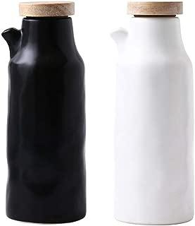 Danmu 2Pcs a Set Ceramic Oil and Vinegar Soy Sauce Maple Syrup Dispenser Bottle for Kitchen 400ml / 13.5oz