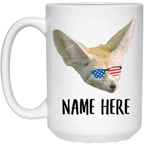 N\A Nombre Personalizado Fennec Fox Amarillo con Bandera Americana Gafas de Sol Taza de café Blanca