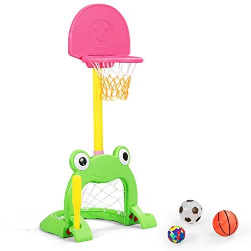 DREAMADE Basketballkorb Set für Kinder, höhenverstellbar, 3 in 1 Sportaktivitätszentrum mit Basketball, Fußball & Baseball, Sportaktivitätscenter für Kinder 3-8 Jahre