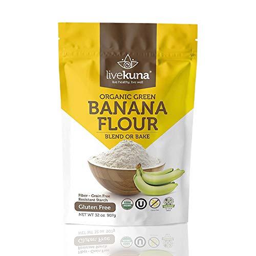 Livekuna Organic Banana Flour | 100% Natural Non-GMO Green Banana Flour | Gluten-Free & Grain-Free All-Purpose Wheat Flour Alternative | Great For Baking, Cooking, Keto & Paleo Diets | 2 lbs