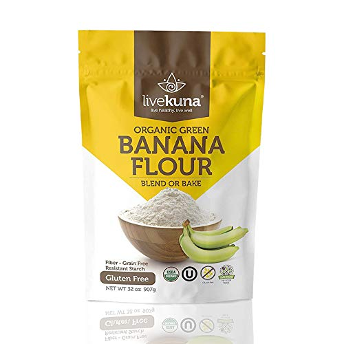 Livekuna Organic Banana Flour | 100% Natural Non-GMO Green Banana Flour | Gluten-Free & Grain-Free All-Purpose Wheat Flour Alternative | Great For Baking, Cooking, Keto & Paleo Diets | 2 lbs