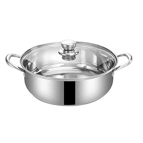 Casseruola in acciaio inox addensare fondo composito non rivestito angolo zuppa pentola da cucina a induzione fornello dedicato casseruola con coperchio-34cm