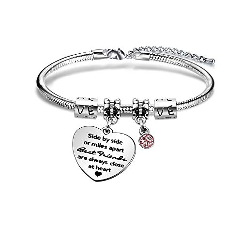 KENYG Side by Side Or Miles Apart Best Friends are Always Close at Heart Silver Crystal Bracelet Bangle for Women