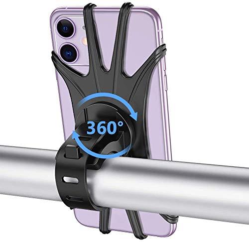 Porta Cellulare Bici, iAmotus Supporto per Telefono Universale 360° Rotabile Silicone Bici Mountain Bike Moto Porta Smartphone Compatibile per iPhone 12 11 PRO Max XS XR 8 Plus Samsung, Huawei e Altro