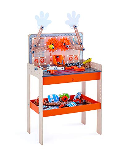 Hape E3027 - Tüftler Werkbank, MINT-Spielzeug, Experimentierset, Junior Inventor - Erfinden und Experimentieren