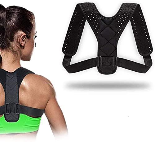 QUNPON Haltungskorrektur für Männer und Frauen, verstellbare obere Rückenstütze zur Unterstützung des Schlüsselbeins und zur Schmerzlinderung von Nacken, Rücken und Schulter_004 (A)