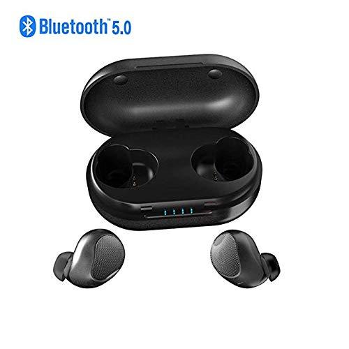 True Wireless Earbuds Bluetooth 5.0インイヤーヘッドフォンタッチボタンIPX6防水ステレオ、内蔵ノイズリダクション内蔵マイク&充電ケース、Android/iOS用,Black