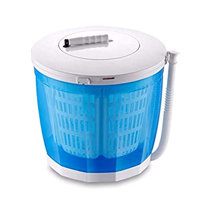 2-in-1 Mini Washing Machine and Spin Dryer with Dehydrating Tube, Holds up to 2 kg, Portable Hand Cranked Non-Electric Top Washer/Dryer Hand-operated Washing Machine for Camping Travel Caravans