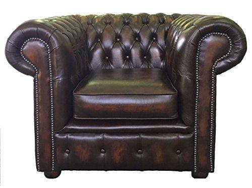 Chesterfield Fauteuil club 100 % cuir véritable Marron vieilli