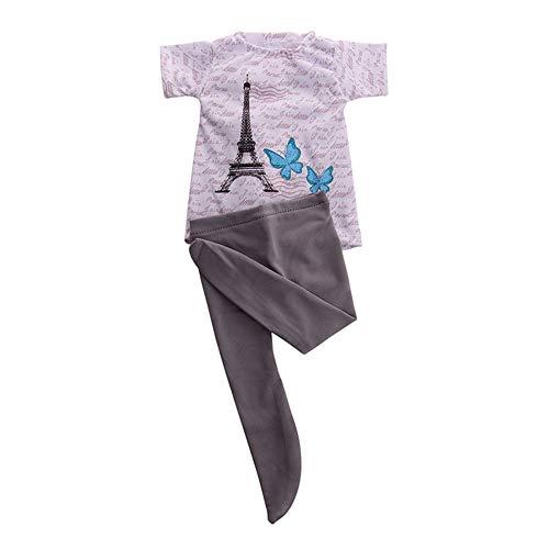 Uteruik Pop Kleding voor 46 cm/18 in Amerikaanse Meisje Pop Casual Outfits - Leggings Panty en T-shirt Kostuum Accessoire, 2 stks/set