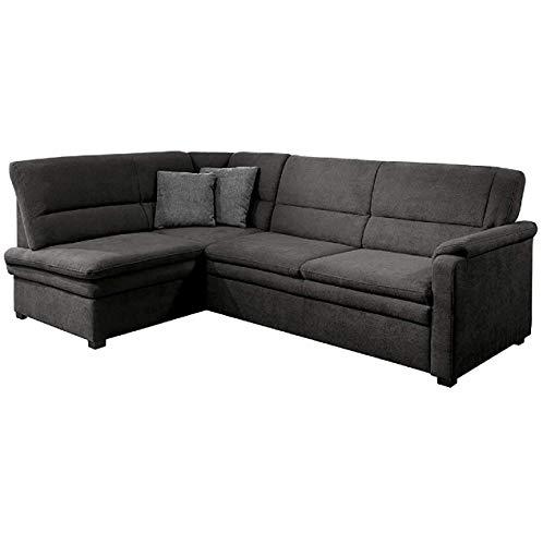 Cavadore Ecksofa Pisoo mit Ottomane links L-sofa, mit Federkern und Bettfunktion im klassischen Design , 245 x 89 x 161, Flachgewebe Dunkelgrau (Anthrazit)