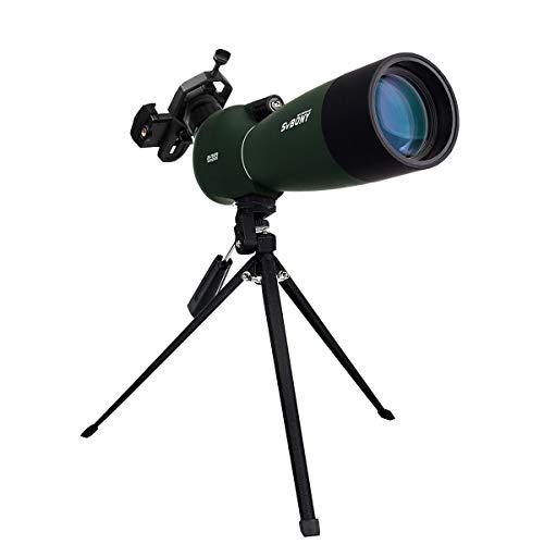 Svbony SV28 Cannocchiale, 25-75x70 Cannocchiale con Treppiedi, FMC Ottica Bak4 Prisma Telescopio Spotting Scope con Smartphone Adapter per Tiro a Segno, Birdwatching, Caccia