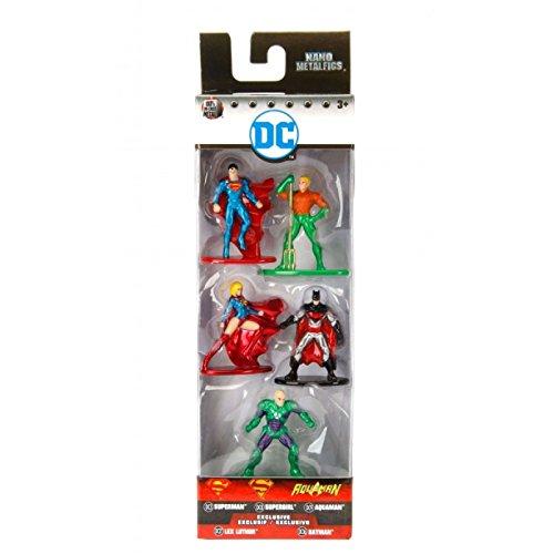 DC Comics 5er Pack - Nano Metalfigs 4cm Sammelfigur 98665 detailgetreue Gestaltung, aus hochwertigem Diecast-Metall, kleine Figuren perfekt für jeden Sammler