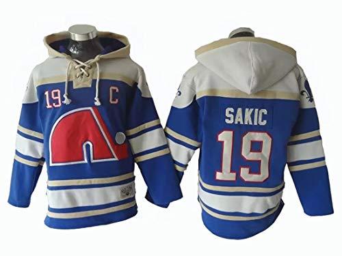 Gmjay NHL Quebec Team Ice Hockey Team # 19 Lacer Blue Hoody Jersey Trikot Kapuzenpullover,XXL