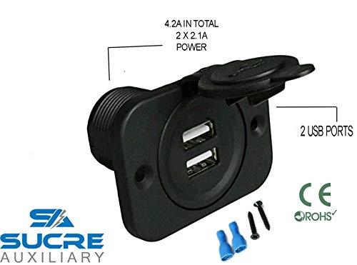 Zigarettenanzünder-Stecker, 12 V/24 V, Doppel-USB, für Motorrad, Boot, Auto, Gebrauchsanweisung in englischer Sprache