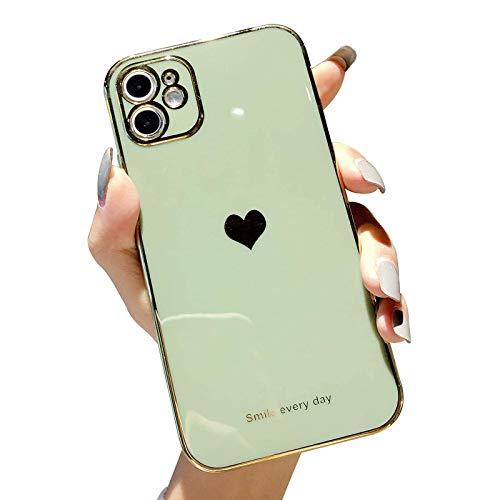 HHZY Funda Compatible con iPhone 12 Pro MAX Carcasa de Silicona con Patrón de Corazón con Protector de Lente de Cámara Back Cover A Prueba de Golpes de TPU Suave Ultrafino,Verde,12