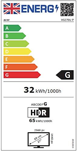 Acer VG270UP Gaming Monitor 27 Zoll (69 cm Bildschirm) WQHD, 144Hz DP/HDMI2, 70Hz HDMI1, 1ms (VRB), HDMI 2.0, HDMI 1.4, DP 1.2a, HDMI/DP FreeSync - 10
