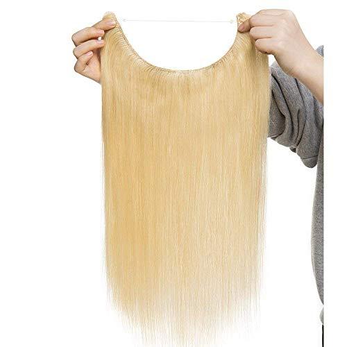 Extension Capelli Veri Fascia Unica con Filo Trasparente One Piece Wire in No Clip Remy Human Hair Lunga 50cm Pesa 70g, 613 Biondo Chiarissimo