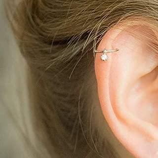 CZ Helix Piercing Tiny Helix Earring Hoop Dangling Diamond Silver Cartilage Earring