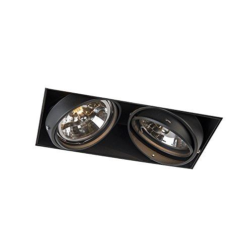 QAZQA Moderno Foco empotrado negro orientable 2-luces sin molduras - ONEON 111-2 Trimless Acero Rectangular Adecuado para LED Max. 2 x 50 Watt