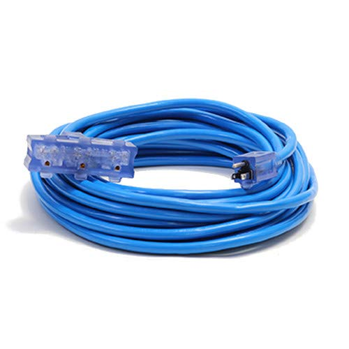 25-Foot 12-Gauge SJTW Pro Glo Lighted Outdoor 3-Way Extension Cord w/Ground Monitoring, Blue