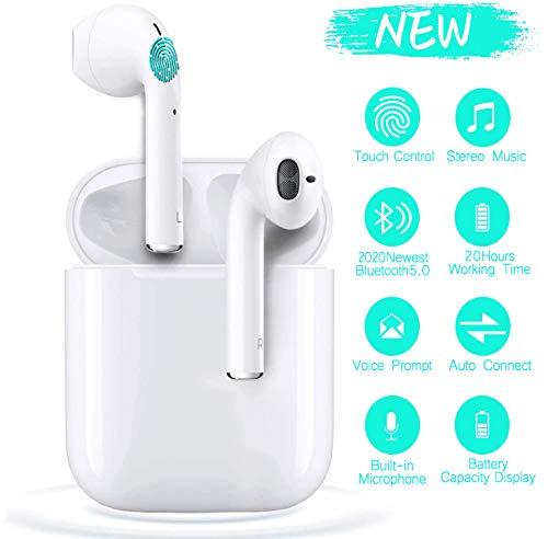 i12-Tws Auriculares Bluetooth,3D Sonido estéreo Auriculares con control táctil Mini auriculares Bluetooth con función de emparejamiento automático,Auriculares para Apple/Airpods/Android/iPhone -Blanco