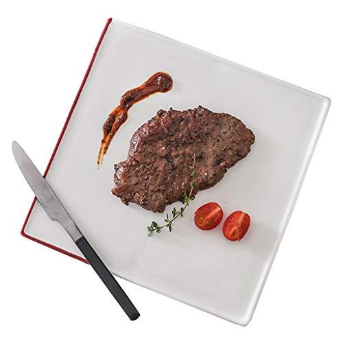 platos Para Bistec Cuadrado De Cerámica para El Hogar Colocación Italiano De Ramen Rectangular Ensalada De Frutas, Ramen (sin Cuchillo Ni Tenedor)
