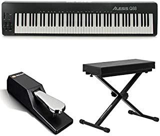 Alesis 88 Key USB/MIDI Keyboard Controller Q88 Works With Computer and Music Software +Pitch & Mod Wheels + Bench + Sustain Pedal