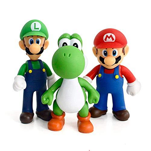 HFZXM 3pcs/Set Mario Luigi Mario Yoshi PVC Action Figures Toy (5')