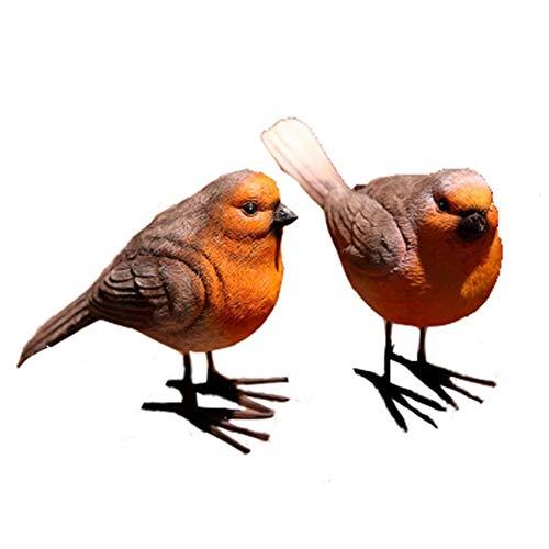 XHONG 2 x Gartenfiguren aus Kunstharz, Rotkehlchen-Vogelfiguren, Simulationstierfiguren für Rasen, Gartendekoration