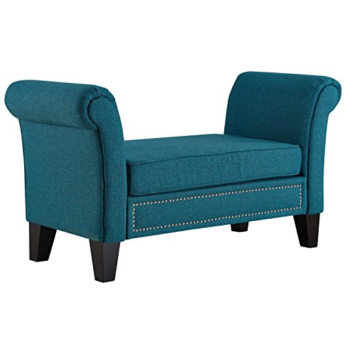 Modway Rendezvous Upholstered Bench in Teal with Rolled Arms and Nailhead Trim