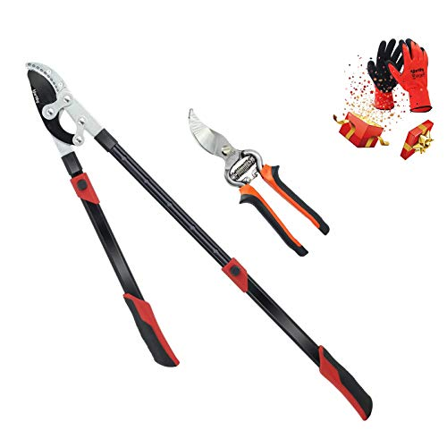 Yartting Extendable Anvil Loppers and Forged Bypass Pruner Set,Tree Trimmer with Compound Action,Branch Cutter Heavy Duty,Telescopic Aluminum Long Handle,2 Inch Clean Cut Capacity (Black)