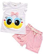 Ropa Bebe Niña Verano Fossen - 2PC/Conjuntos Dibujos Animados Camiseta sin Mangas + Pantalones Cortos de Arco - para Recien Nacido 0 a 24 Meses
